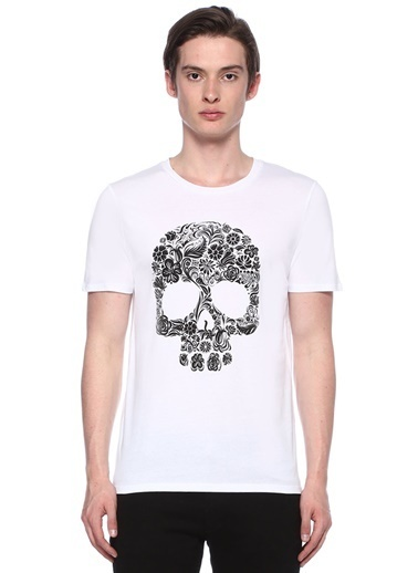 Deep Purple Bisiklet Yaka Baskılı Tişört Beyaz